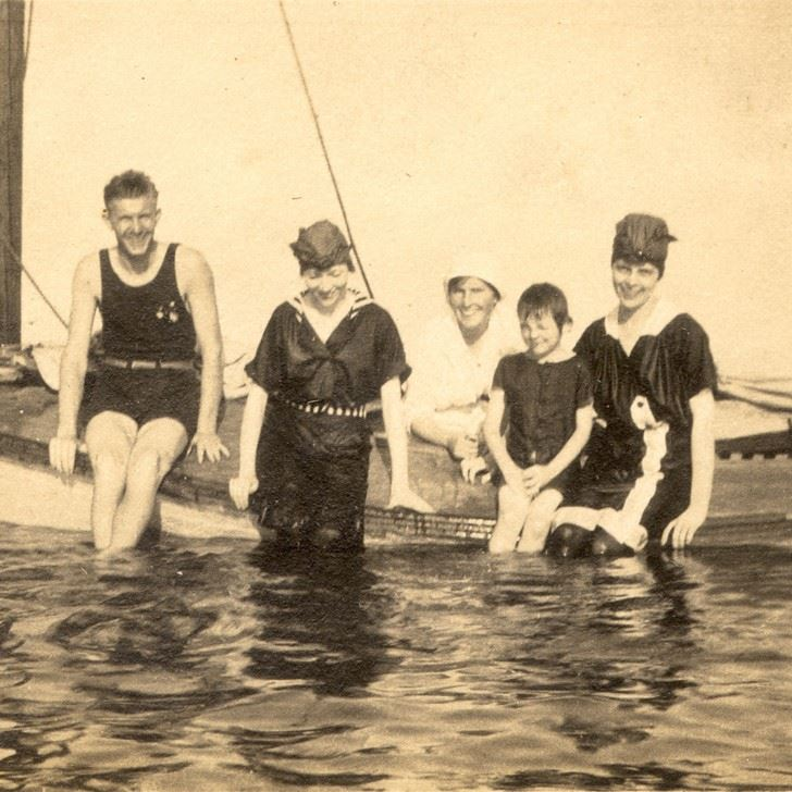 Square family on boat