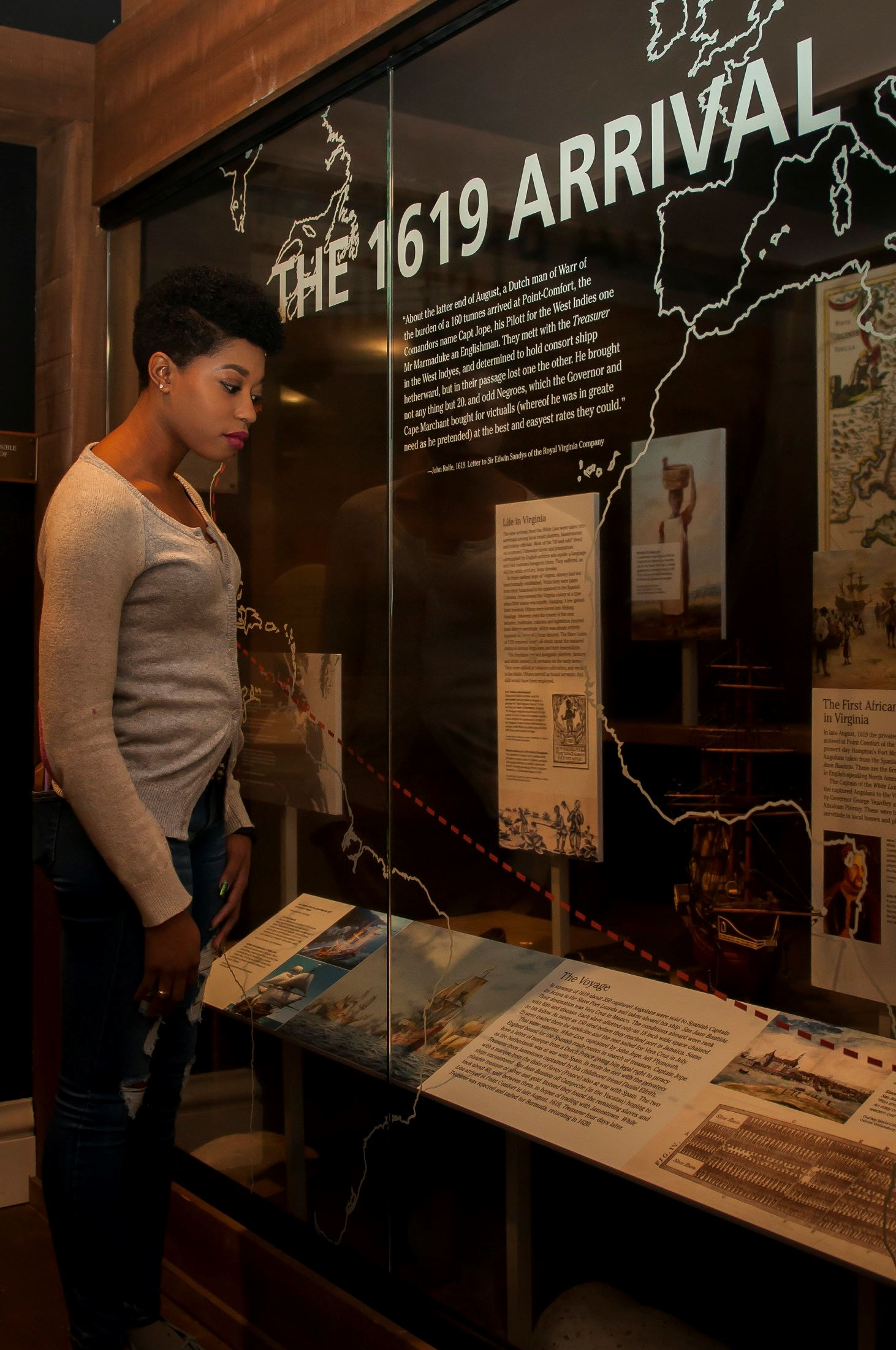 ~ Photo credit: 1619 exhibit in the Hampton History Galleries. Photo courtesy of the Hampton Convention and Visitor Bureau.